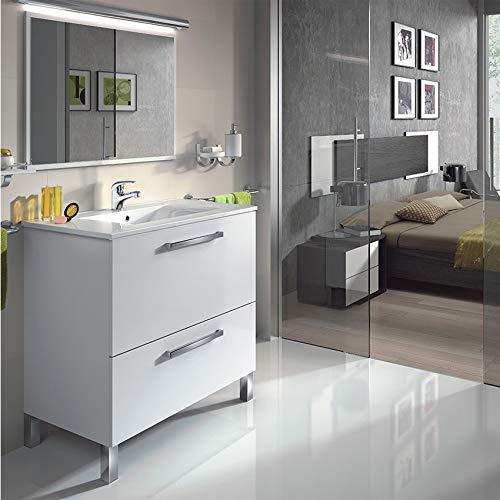 HABITMOBEL Golden Mueble Lavabo 1p Abatible +1 cajón + Espejo + Lavabo CERÁMICO