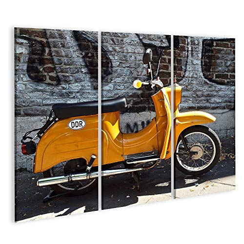 islandburner Bild auf Leinwand Oldtimer-Motorroller der historischen DDR Deutschland vor Einer Mauer Bilder Wandbild Poster Leinwandbild