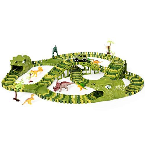 COSTWAY Dinosaur Race Track Set con 240 Piezas Circuito Dinosaurio Coche Pista de Carrera de Coche Juguete con 8 Dinosaurios y 1 Coche para Niños Mayores de 3 Años