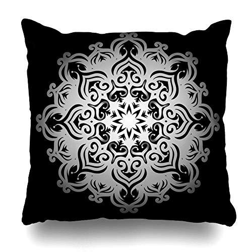 N\A Funda de cojín Tamaño Cuadrado Patrón Redondo Plateado árabe Vintage en Cultura Abstracta Diseño de Color de círculo Negro asiático Funda de cojín Diseño de decoración del hogar Funda de Almohada