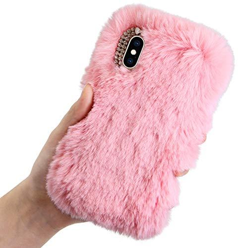 LCHDA Plüsch Hülle für iPhone 7/iPhone 8 Flauschige Künstlich Kaninchen Haar Telefonkasten Süße Winter Warm Weich Niedlich Hase Pelz Handytasche Stoßfest TPU Schutzhülle - Rosa