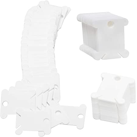 White Plastic Floss Bobbins 100pcs Embroidery Thread Cards Cross and DIY Sewing Stoirage Thread Organizer
