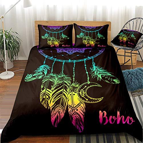 Chanyuan Atrapasueños multicolor, funda nórdica de 135 x 200 cm, 2 piezas, color negro, juego de ropa de cama para niñas, ropa de cama infantil, microfibra suave, estilo exótico boho con cremallera