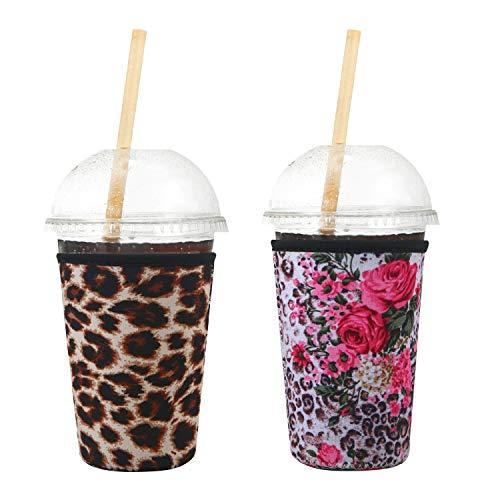 Creatyi 2 PCS Reusable Iced Coffee Sleeve Hot Coffee Sleeve Neoprene Cup Holder Drinks Sleeve Perfect for Your Coffee Drinks (22-25 oz Medium, Leopard print)