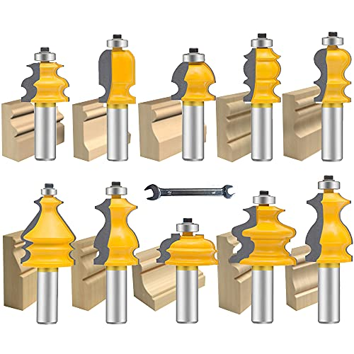 OLETBE Architectural Molding Router Bit Set 10 PCS 1/2-Inch Shank, Corner Rounding Edge-Forming Roundover Beading Router Bit Set, Woodworking Milling Cutter Tools, Carbide CNC Router (Grey)