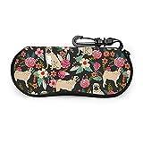 Bran-don Chiot fleurs florales étui à lunettes portable lunettes souple poche voyage glisser dans le sac de lunettes
