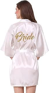 Satin Kimono Wedding Party Getting Ready Robe with Gold Glitter