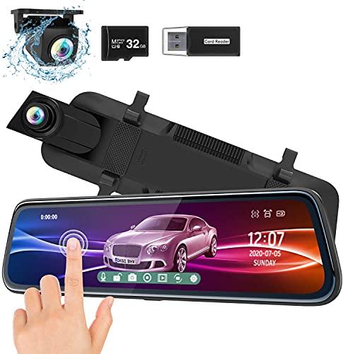 """ThiEYE Carview2 Dash Cam Specchietto 10"""" Touchscreen Telecamera per Auto [1080P 170 ° e 720P 170 °] G-Sensor, Registrazione in Loop, Monitor di Parcheggio con Scheda SD 32 GB"""