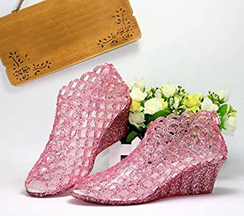 KHSKX-Le Rose Hill Avec 5Cm De Plastique épais Crystal Jelly chaussures Les Chaussures De Plage Nouveau Trou Trou à Fond Plat Chaussures D'été Sandales Filles Bouche Poissons Marée 36