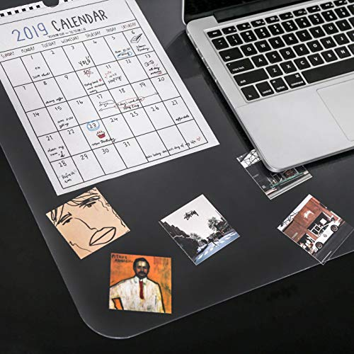 """YSAGi Clear Desk Pad Protector, Round Edge Non Slip Clear Writing Mat, 31.5""""x15.7"""" Waterproof PVC Clear Desk Mat with 7.9""""x9.8"""" Waterproof PU Leather Mouse Pad for Office/Home (Frosted+Black) Photo #7"""