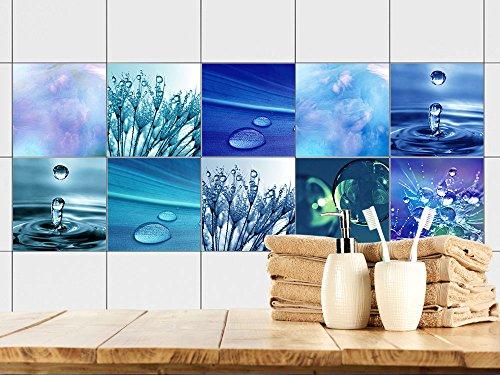 GRAZDesign Fliesenaufkleber Bad 15x15 - Fliesen zum Aufkleben | Selbstklebende Folie für Badezimmer | 10 Blaue Motive mit Wasser (15x15cm // Set 10 Stück)