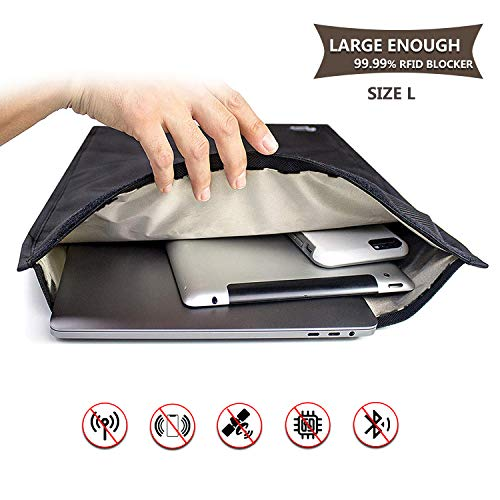Faraday - Bolsa grande para llaves de coche, bloqueo de señal para tarjetas de crédito, protección GPS 35*45cm negro