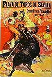 ART ESCUDELLERS Cartel Póster publicitario de Chapa metálica con diseño Retro Vintage de Catalunya/España. Tin Sign. 50 cm x 33,50 cm (Plaza DE TOROS DE Sevilla 1940)