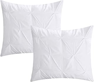 Ardor Bedding Bright White Euro Pillow Shams Set of 2 (26 x 26) Pinch Pleat 600 Thread Count 100% Natural Cotton Cushion Cover, Cases Super Soft Decorative