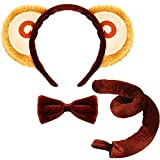 Animal Costume Set Monkey Ears Nose Tail and Bow Tie Animal Fancy Dress Costume Kit Accessories for Kids Halloween Christmas Animal Cosplay Birthday Theme Party Supply Stage Performance Brown