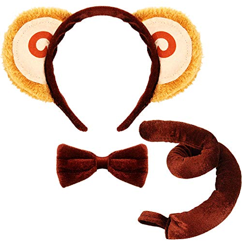 Animal Costume Set Animal Ears Nose Tail and Bow Tie Animal Fancy Costume Kit Accessories for Kids (Monkey Costume) Brown