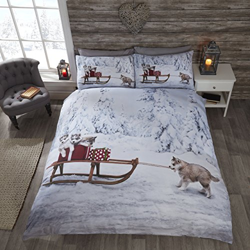 Natale Husky Cane Husky Cute Cucciolo Di Natale Slitta Copripiumino E 2 Federe Set Di Biancheria Da Letto Matrimoniale, Multicolore