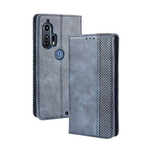 LAGUI Kompatible für Motorola Edge+ Hülle, Leder Flip Hülle Schutzhülle für Handy mit Kartenfach Stand & Magnet Funktion als Brieftasche, Blau