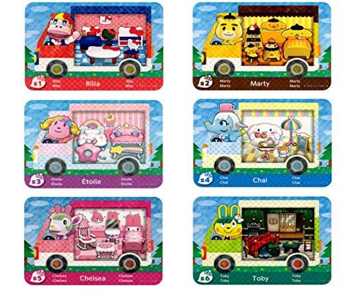 6 Stück Animal Crossing New Horizons ACNH Amiibo Sanrio Minikarte, RV Villager Möbel Kompatibel mit Switch/Switch Lite/New 3DS