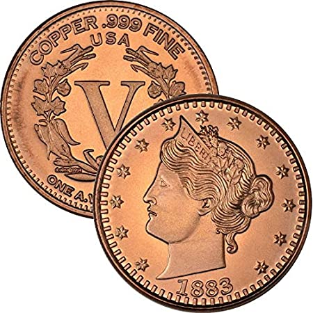 Private Mint Currency Design 1 oz .999 Pure Copper Round/Challenge Coin (1883 Liberty V Nickel Design)