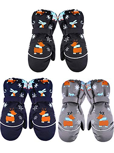 3 Pairs Kids Thick Snow Mittens Baby Toddler Waterproof Ski Gloves Winter Warm Gloves for Boys Girls (Navy Blue, Black, Gray,6-12 Years)
