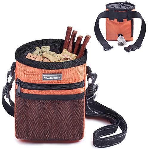 VIVAGLORY Futterbeutel für Hunde, Futtertasche für Leckerli für das Hundetraining, mit Kotbeutelspender, Reflektierender Gurt und verstellbarem Gürtel, für Training, Spaziergänge und Ausflüge, Orange