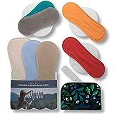 Compresas de tela reutilizables, pack de 7 compresas ecologicas de algodón orgánico con alas; HECHAS EN LA UE, para menstruación, postparto,...