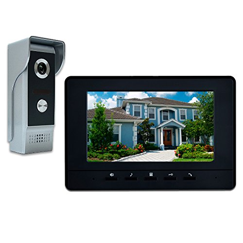 AMOCAM Wired Video Intercom System, 7 Inches Video Doorbell Door Phone System, Wired Video Door Phone HD Camera Kits Support Unlock, Monitoring, Dual-way Intercom for Villa Home Office Apartment