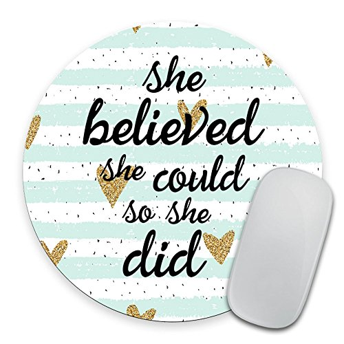 Quote Mousepad, She Could Mouse Pad, Watercolor Mouse Mat, Custom Round Mousepad, Heart Mousepad, Inspirational Quote Mousepad Motivational Quote