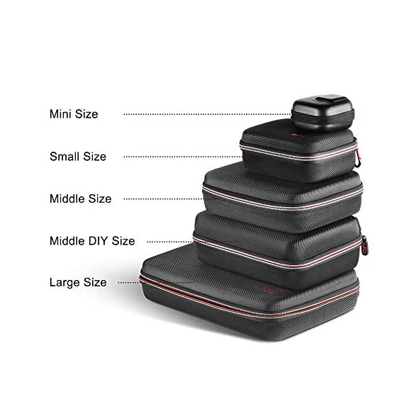 Middle Protective Carrying Case for GoPro Hero 9, 8, Hero(2018) Hero 7 Black, Hero 6,5, 4, LCD, Black, 3+, 3, 2 and… 6 CARRYING CASE FOR GOPRO CAMERA ACCESSORIES AND OTHER ACTION CAMERA:this carrying case is designed for gopro HERO 9, (2018), hero 7 black,hero 6,hero 5 black, gopro hero 4, gopro hero3, gopro hero3+, gopro hero 2, gopro HD, LCD,and other gadgets for the gopro camera KEEP YOUR MEMORIES SAFE AND SOUND USING ONE MEDIUM CASE - Our compact and easy to carry GoPro camera accessory gives you the opportunity to store your device in a safe and protective case, made to endure all the extreme action you put it through! MAKE SURE EVERYTHING YOU NEED IS AT YOUR FINGERTIPS - The incredible foam interior is specially designed to give you easy access to all the compartments. As a result, you will be able to find your accessories quickly when the action is heating up!