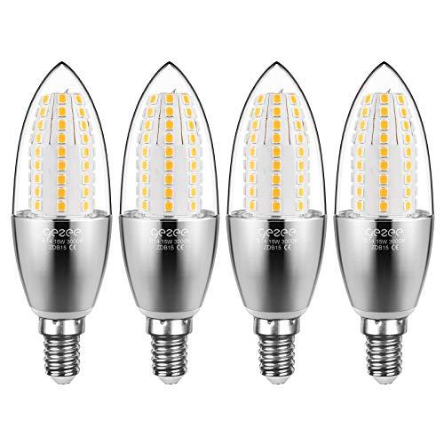 Gezee Les balles Forme à LED Ampoules E14 15W, 1500LM, Blanc Chaud 3000K équivalent à 120W Ampoule à incandescence, Torpedo Forme, LED bougie ampoules, non dimmable, Lot de 4
