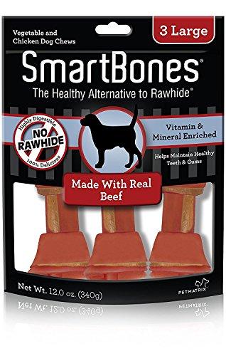 (3 Pack) SmartBones Beef Flavor Rawhide-Free Dog Chews, Large (3 Chews Per Pack)
