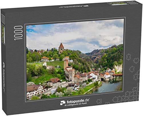 Puzzle 1000 Teile Bezirk Auge in Freiburg Schweizer Altstadt von Freiburg, Schweiz Luftaufnahme der Pont de Berne (1000, 200 oder 2000 Teile)