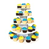 The Smart Baker NEW Quick and Easy 2 in 1 Round Cupcake Tower Stand - Made in the USA - Reusable as 3 or 5 Tier Cupcake Stand - Holds 90+ Cupcakes