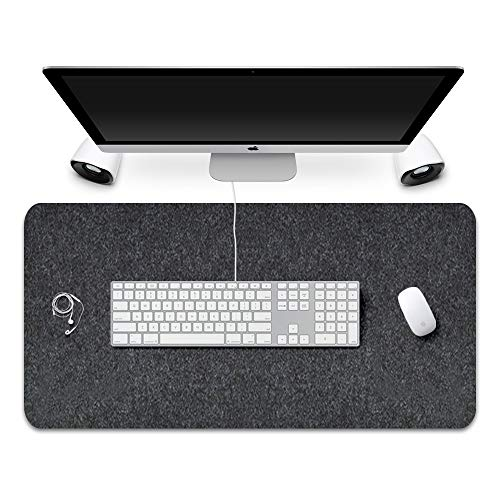 """FireBee Desk Pad Protecter Felt Non-Slip Thick Large Mouse Pad Writing Mat for Office and Home(31.3"""" x 15.7"""",Dark Gray)"""