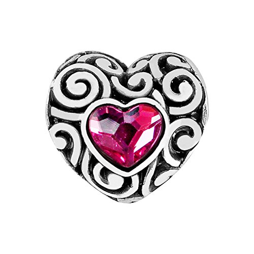 Brighton Swirly Love Heart Silver Pink Crystal Bead Charm