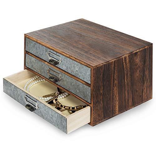 MyGift Rustic Wood & Galvanized Metal 3-Drawer Document Organizer