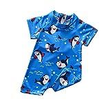 Traje de Baño de Una Pieza de Niños Pequeños Bañador de Mangas Cortas con Estampado de Tiburón Ropa de Natación con Cremallera Trasera Bebés (Azul, 6-12 Meses)