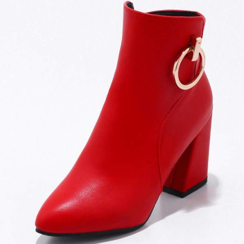 CITW Damenstiefel Metal Schnüffeln Groformat Stiefel Frauen Herbst Und Winter Spitz Damenschuhe Martin Stiefel,rot,UK5 EUR39