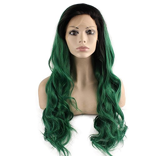 Mxangel Long Wavy Lace Front Synthetic Black Green Ombre Cosplay Party Wig