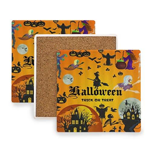 PANILUR Orangegelber Schloss Zauberer und Hexen Monster Kürbis festlicher Entwurf der Halloween Partei,Untersetzer Saugfähige Keramik,für Tassen Tisch Bar Glas(1 Packs)
