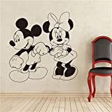 Tioua Vinyl Removable Wall Stickers Mural Decal Mickey Mouse and Minnie Mouse Cartoon Characters Dancing Cartoons Children's Nursery