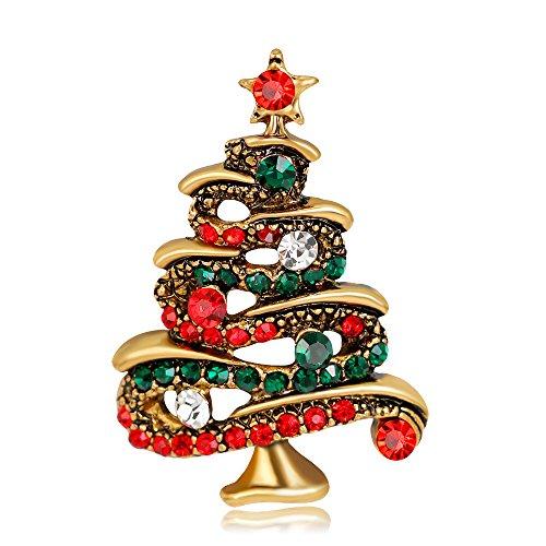 ZSCRL Modische Strass-Christbaumbrosche, mit Diamanten besetzte Damenkorsage aus Legierung, 4,2 * 2,8 cm Gold