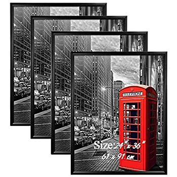 PETAFLOP 4 Pack 24x36 Frame for Pictures with Plexiglass Front Black Poster Frames for 24 x 36 inch Wall Art
