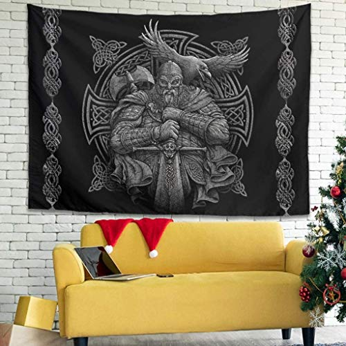 Grey Nordic Viking Odin Warrior Axe Sword Raven Cross Knot Tattoo Wall Hanging Tapestry Indian Tapestry Mysterious Wall Art Beach Cover Living Room, 200x150cm, White