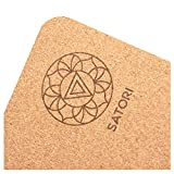 "SatoriConcept Cork Yoga Mat - 100% Eco Friendly Cork & Rubber, Lightweight with Perfect Size (72"" x 24"") and 4mm Thick, Non Slip, Sweat-Resistant, Innovative Exercise Mat for Hot Yoga, Outdoor Fitness"