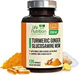 Turmeric Curcumin with Ginger, Glucosamine & MSM 2000mg 95% Curcuminoids, Bioperine for Best Absorption, Best Joint Support, Made in USA, Turmeric Pills by Life Nutrition - 120 Capsules