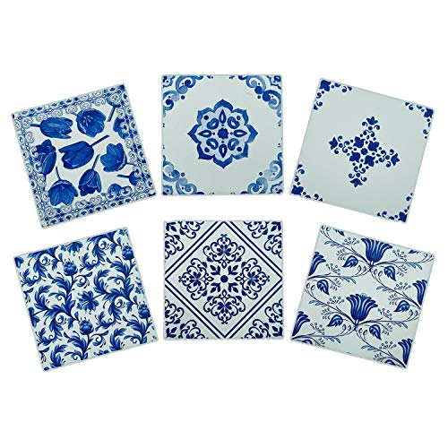 Delft Blue Ceramic Coaster Set in Steel Holder - Farmhouse Style Absorbent Coasters - Cork Backed Coasters - Set of 6 Coasters That Absorb Moisture - Vintage Coasters