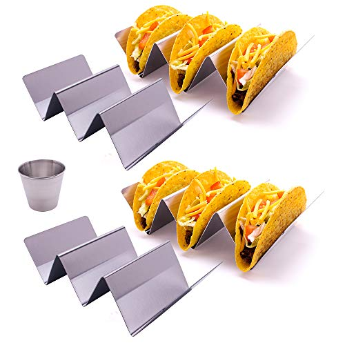 4 Stylish Stainless Steel Taco Holder Stand With Dressing Cup, Rack Holds Up to 3 Tacos Each, Oven Safe for Baking, Dishwasher and Grill Safe pack of 4 by ZARA CONCEPTS