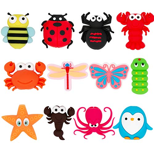 YONOCOSTA 12 Pcs Cute Phone Cable Protector for iPhone/iPad USB Charging Cable, Funny Cartoon Insects Animals Series Bee/Spider/Beetle/Lobster/Butterfly/PVC Cable Protectors for iPhone/iPad Cables